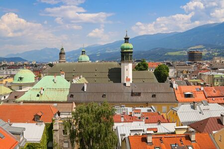 bird view: Bird view of roofs and buildings in Innsbruck city, Austria Stock Photo