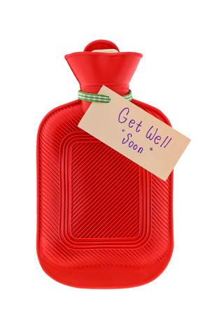 soon: A red hot water bag AKA water bottle with a paper written Get Well Soon to wish someone to feel better