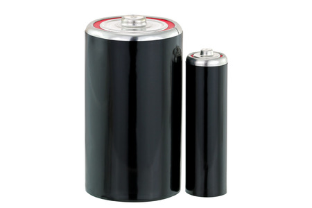 throwaway: Black Dry cell D and AA size battery in black color isolated on white background