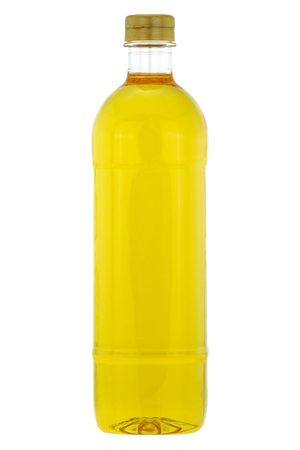 rich flavor: A bottle of Rice bran oil, cooking oil extracted from the hard outer brown layer of rice after husk with natural antioxidant properties, isolated on white background