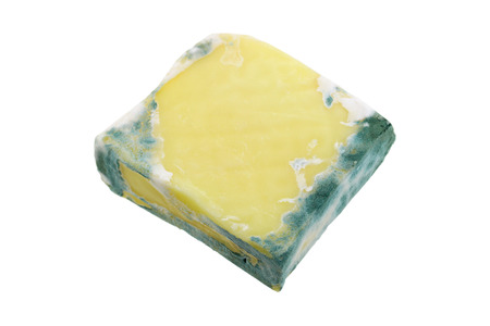uneatable: Macro photo of a block of Cheese with green mold on the border,  isolated on white background