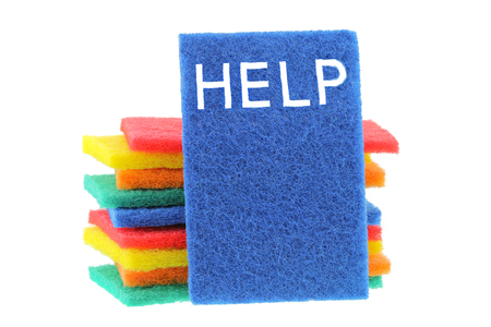 scour: A stack of multi color scrub sponge with the word HELP on the blue one, isolated on white background