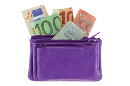 mini purse: Purple multi layered leather zippered coin pouch with Euro banknote inside, isolated on white background Stock Photo