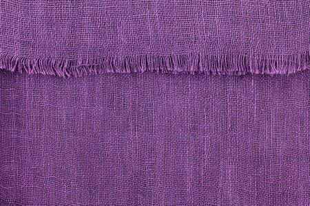 Fabric Texture: Closeup background photo of texture of Thai silk textile in Violet, Purple color Stock Photo