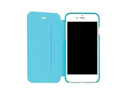 bluish: Closeup of a white smartphone with blank black screen and bluish green, turquoise, flip cover Stock Photo