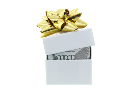 stated: A white box with golden gift ribbon partially opened, with new United stated 100 bill inside,  isolated on white background