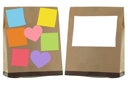 food concept: Brown recycled paper bag with blank sticky notes and label on, isolated on white Stock Photo