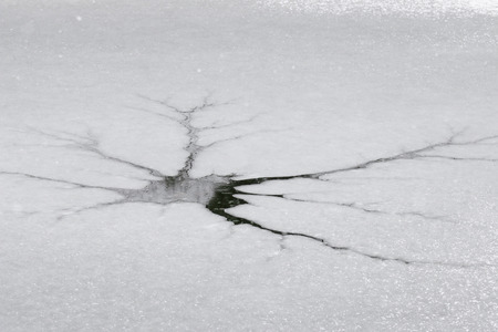 ice floe: Frozen river water with crack in an ice floe showing surface of water during the snowfall