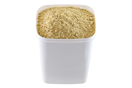 A container full of stock booster powder, Beef flavored seasoning with dried vegetable for marinading and making soup Stock Photo