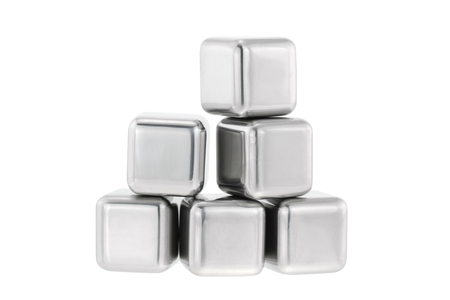 reusable: Reusable and non diluting stainless steel chilling fake ice cubes for whiskey on the rocks or chilled wine, isolated on white Stock Photo
