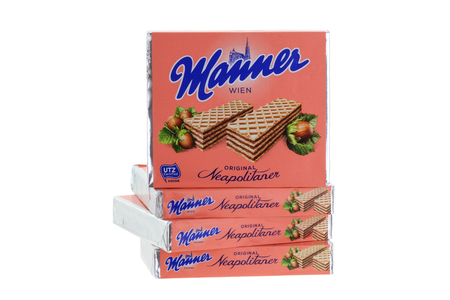 manner: INNSBRUCK, AUSTRIA - MAY 2015 : Packages of the classic Original Manner Neapolitaner wafers in Innsbruck, Austria on May 09, 2015. Neapolitaner classic wafers are filled with hazelnut cocoa cream.