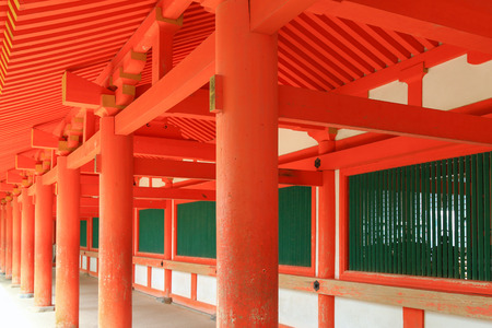 the world heritage: Poles of the cloister at Kasuga Shrine in Nara, Japan. It is registered as a UNESCO World Heritage Site