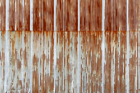 corrugated iron: Background texture of rusty Corrugated metal sheet, galvanized iron plate