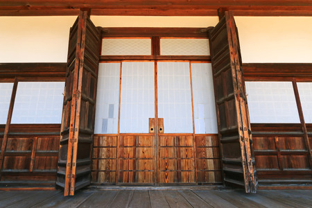 gifu: The traditional wooden sliding door with paper called fusuma at Hokke-ji Temple, in Takayama, Gifu, Japan Editorial