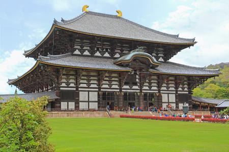 todaiji: NARA, JAPAN - APRIL 2015 : People visiting Great Buddha Hall daibutsuden at Todai-ji Temple in Nara, Japan on April 21, 2015.