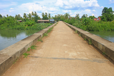 det: The French railway concrete bridge connecting between Don Det island and Don Khon in southern Laos Stock Photo