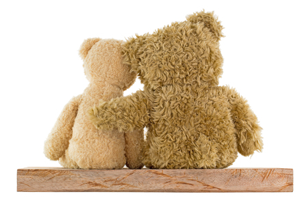 cute teddy bear: Back of a couple of cute brown bears sitting on wood with big one hugging little girl isolated on white background