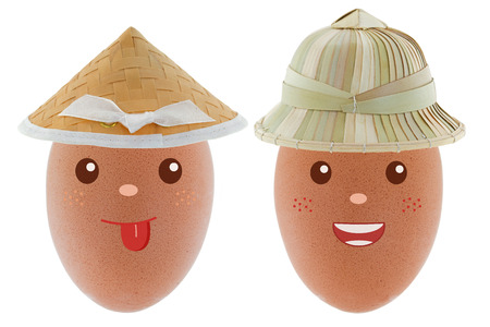 coolie hat: Smiling happy Chicken egg wearing Asian conical straw hat and sun helmet made of palm leaves