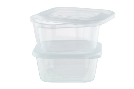 Transparent plastic food storage containers, clear heat resistant, microwaveable, dishwasher safe lunchbox  isolated on white background