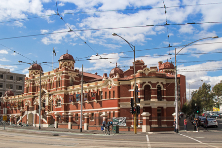 locating: MELBOURNE, AUSTRALIA - APRIL, 2016 : Facade of City Baths building locating on Swanston street in Melbourne, Australia on April 9, 2016. There are swimming pool, sauna, spa, etc inside the building.