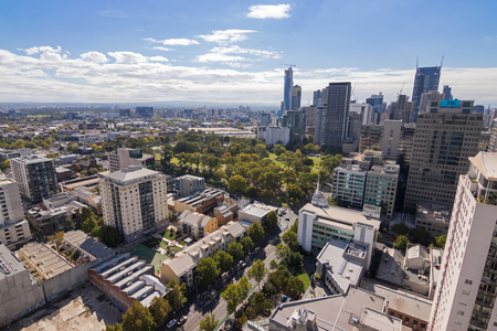 locating: MELBOURNE, AUSTRALIA - APRIL, 2016 : Bird view of Melbourne city with Flagstaff Gardens locating in the middle in Melbourne, Australia on April 9, 2016. Editorial