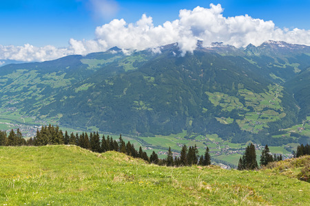 bird view: Bird view of the Zillertal valley village surrounded by mountains during summer in Tyrol, Austria, Europe
