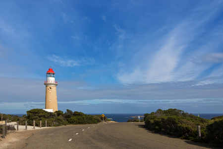 kangaroo island: Cape du Couedic Lighthouse station in Flinders Chase National Park on Kangaroo Island, South Australia with blue sky and Ocean view Stock Photo