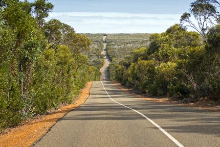 Windy wavy roadway, Cape du Couedic road, located on Kangaroo Island, South Australia Stock Photo