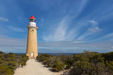 flinders: Cape du Couedic Lighthouse station in Flinders Chase National Park on Kangaroo Island, South Australia with blue sky and Ocean view Stock Photo