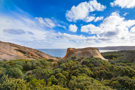 remarkable: Remarkable Rocks, natural rock formation covered by golden orange lichen at Flinders Chase National Park. One of Kangaroo Islands iconic landmarks, South Australia