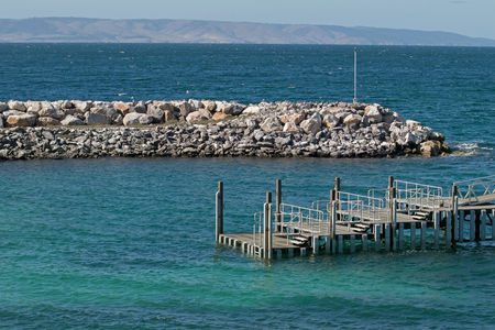 View of Penneshaw Ferry Terminal jetty on Kangaroo Island in South Australia Stock Photo