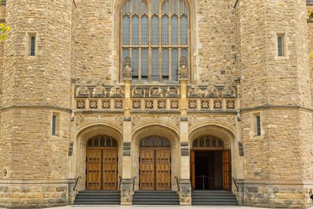 adelaide: ADELAIDE, AUSTRALIA - APRIL, 2016 : The entrance of Bonython Hall of the University of Adelaide, partial view, in Adelaide, South Australia on April 18, 2016.