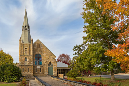 lutheran: Facade of St. Pauls Lutheran Church in the evening in Hahndorf, South Australia during Autumn season