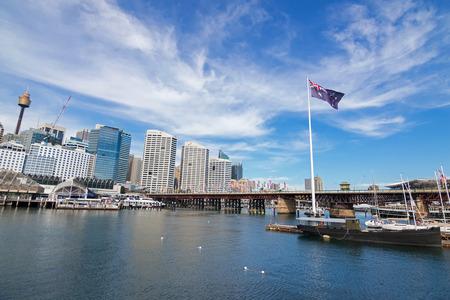 port jackson: SYDNEY, AUSTRALIA - APRIL, 2016 : View of the Pyrmont Bridge and Cockle Bay in Darling Harbour, Port Jackson, west of the central business district in Sydney, New South Wales, Australia on April21, 2016. The bridge only carried pedestrian and bicycle traf