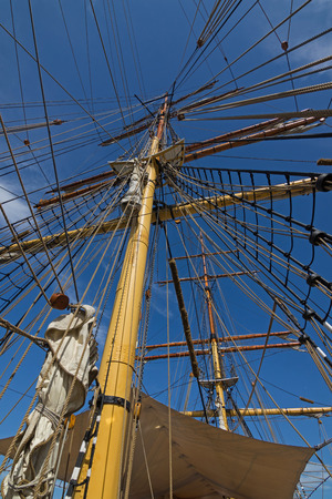 nsw: Closeup details of James Craig mast and rigging, three masted barque, sailing ship at Darling Harbour, Sydney, New South Wales NSW Australia