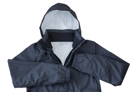 Waterproof windproof breathable venture Rain jacket with hood in black color isolated on white background 写真素材