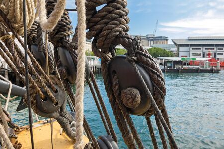 new south wales: Closeup of Node, triple deadeyes and thick ropes on the ship at Sydney Harbour in New South Wales, Australia