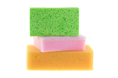 celulosa: Stack of clean super absorbent cellulose sponge, dish washing sponge with scrub and multi purpose sponge isolated on white background