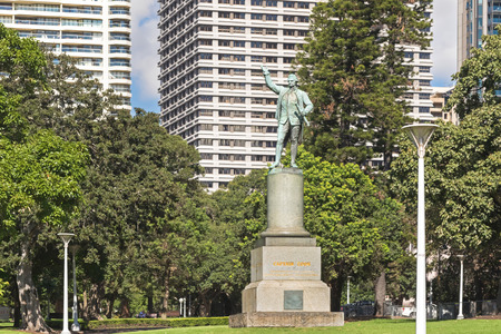 erected: SYDNEY, AUSTRALIA - APRIL, 2016 : A status of Captain James Cook located at the Hyde Park in Sydney, Australia on April 20, 2016. It was designed by Thomas Woolner and erected to commemorate his discovery of the east coast of Australia in 1770.