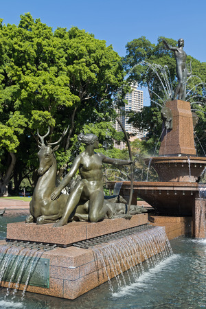 SYDNEY, AUSTRALIA - APRIL, 2016 : Diana, Artemis Goddess of hunting, with hounds and deer at Archibald Fountain, known as J. F. Archibald Memorial Fountain in Hyde Park North, Sydney, Australia on April 21, 2016. It was designed by a French sculptor Franc