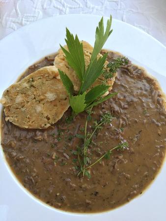 Alte Stil Wiener Suppe namens Beuschel, ein Ragout aus mit Kalbs Lunge und Herz, dienen mit Semmelknödel in Österreich Lizenzfreie Bilder - 64922972