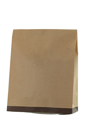 paperbag: Blank brown recycled paper bag isolated on white background