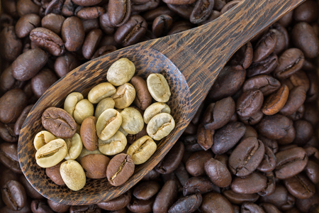 unroasted: Spoon of dried raw unroasted green coffee berry seeds on top of roasted coffee beans