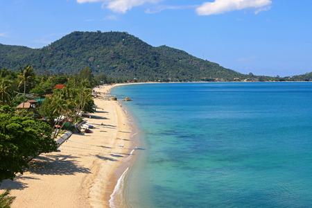 High angle view of Lamai Beach on the east coast of Ko Samui, Koh Samui Island in Surat Thani province, Thailand