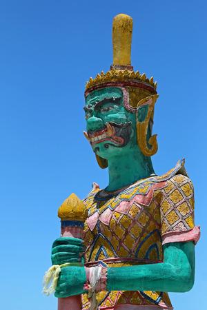 SURAT THANI, THAILAND - MAY 2015 : Closeup of green Giant statue at Golden Laem Sor Pagoda, in Ban Lamai, Ko Samui District, Surat Thani province in Thailand on May 28, 2015.