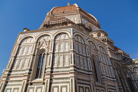 FLORENCE, ITALY - SEPTEMBER 2016 : Exterior and dome of Florence Cathedral (Santa Maria del Fiore) in Florence, Italy on September 21, 2016. Dome is known as Brunelleschis dome.