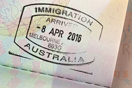 inspected: MELBOURNE, AUSTRALIA - OCTOBER, 2016 : Closeup of Arrival entry stamp on passport for immigration traveling at Melbourne airport, Australia on October 23, 2016 Editorial