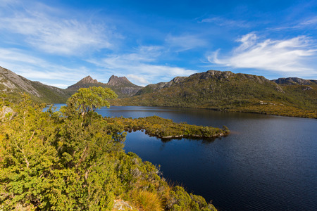 Ranges and peak of Cradle Mountain at Lake St Clair National Park. View from Glacier Rock across Dove Lake. Autumn in Tasmania, Australia