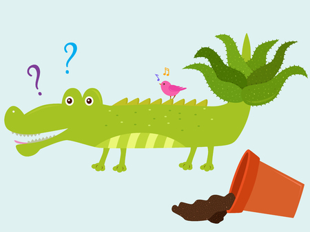 Vector illustration of cute cartoon crocodile with aloe vera on its tail with fallen ceramic pot next to it