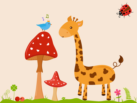 Vector illustration of cute smiling Giraffe cartoon next to blue prince bird on tall red mushroom with white dot on green grass, yellow background